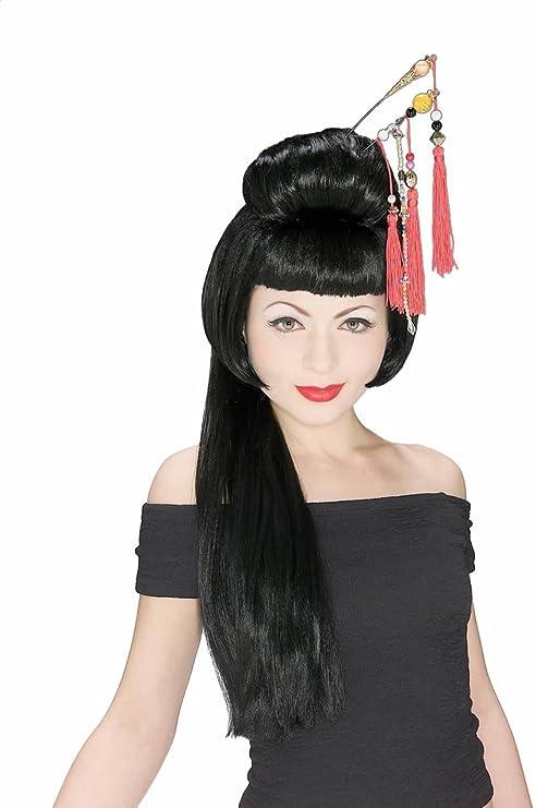 Peluca de geisha china para mujeres adultas, talla única