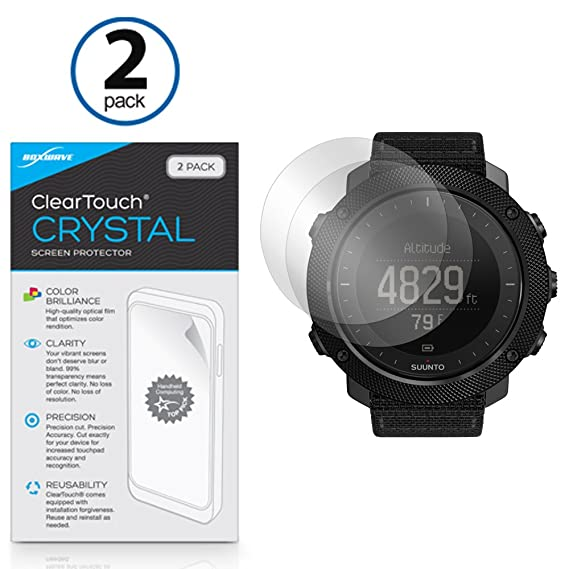 Suunto Traverse Alpha Screen Protector, BoxWave [ClearTouch Crystal  (2-Pack)] HD Film Skin - Shields From Scratches for Suunto Traverse Alpha