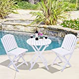 3 Piece Folding Table Chair Set Wood Outdoor Patio