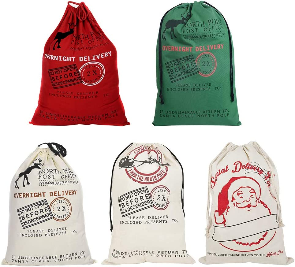 """LITTLEGRASS Christmas Decorations 5Pack Santa Sack Personalized for Kids Canvas Burlap Blank Bag Storage Bag Drawstring Special Delivery Extra Large Size 27.5""""x19.5"""""""