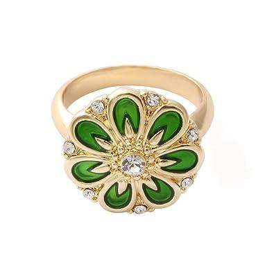 f6a5c8c8eda72 Amazon.com: NOUMANDA Crystal Beautiful Gold Color Green Flower ...