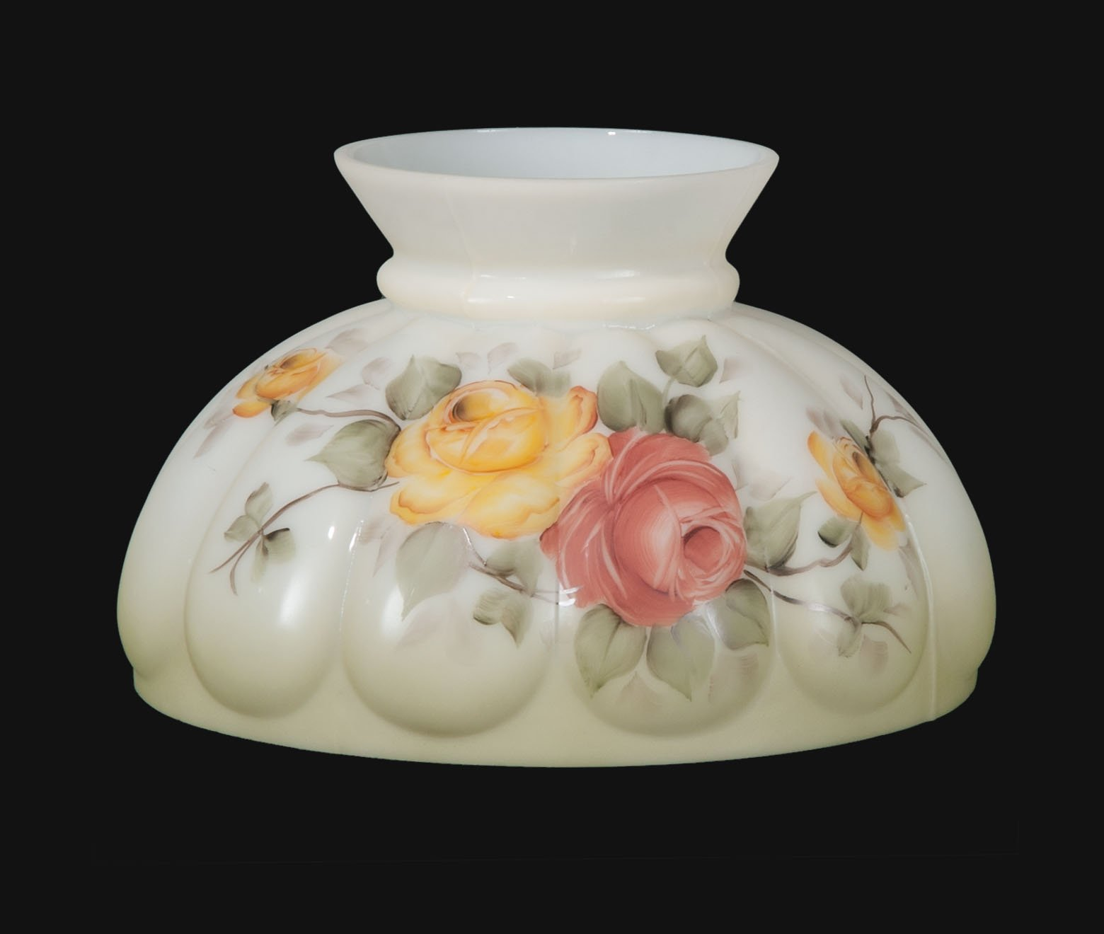 B&P Lamp Opal Melon Shade, Victorian Roses Scene by B&P Lamp