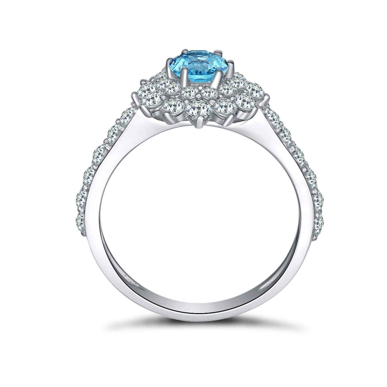 AMDXD Jewelry 925 Sterling Silver Bands for Women Blue Round Cut Topaz Round Ring