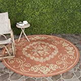 Safavieh Courtyard Collection CY1893-3202 Terracotta and Natural Indoor/ Outdoor Round Area Rug (5'3″ Diameter) For Sale