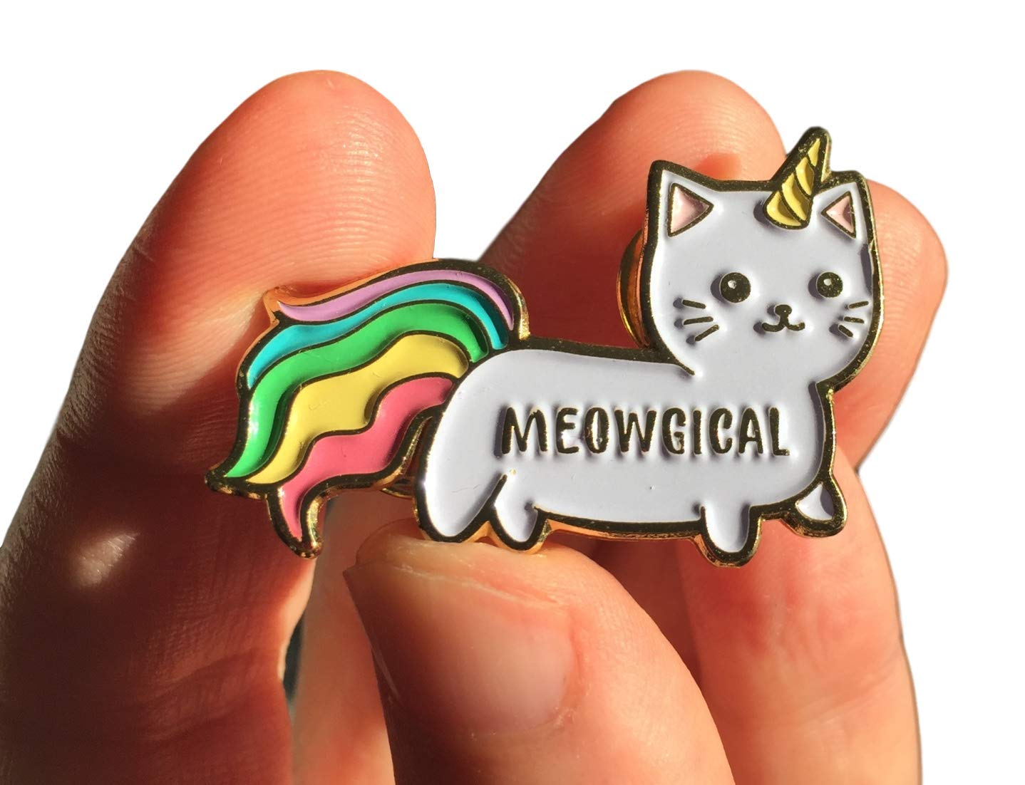 """Stickeroonie Cute Rainbow Meowgical Caticorn Lapel Pin, Colorful Magical Cat Unicorn Gold Plated Decorative Pin, 1.4"""" 3"""