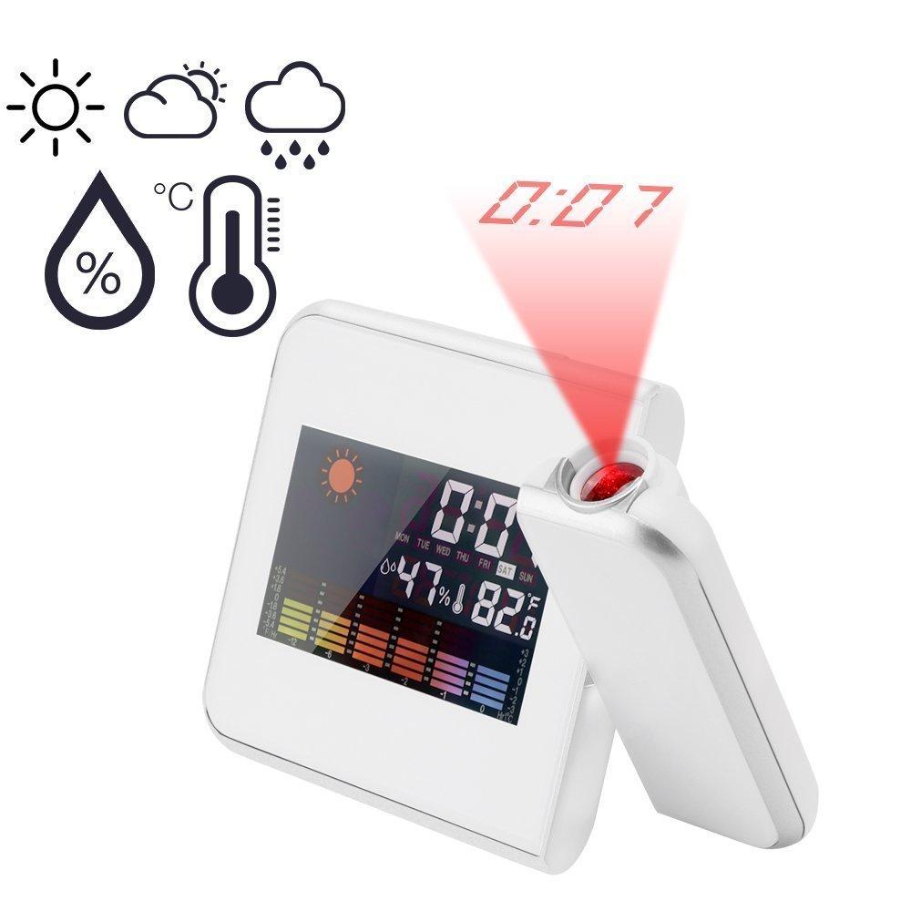 Powstro Projection Alarm Clock Digital LED Forecast Weather LCD Display Desk Clock (BLACK)