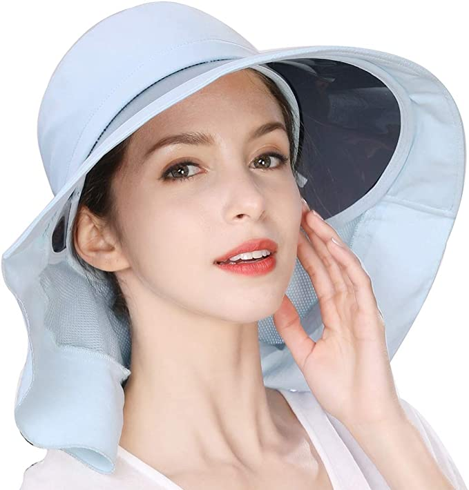 Jeff /& Aimy UPF 50 Sun Hats for Women Wide Brim Safari Sunhat Packable with Neck Flap Chin Strap Adjustable
