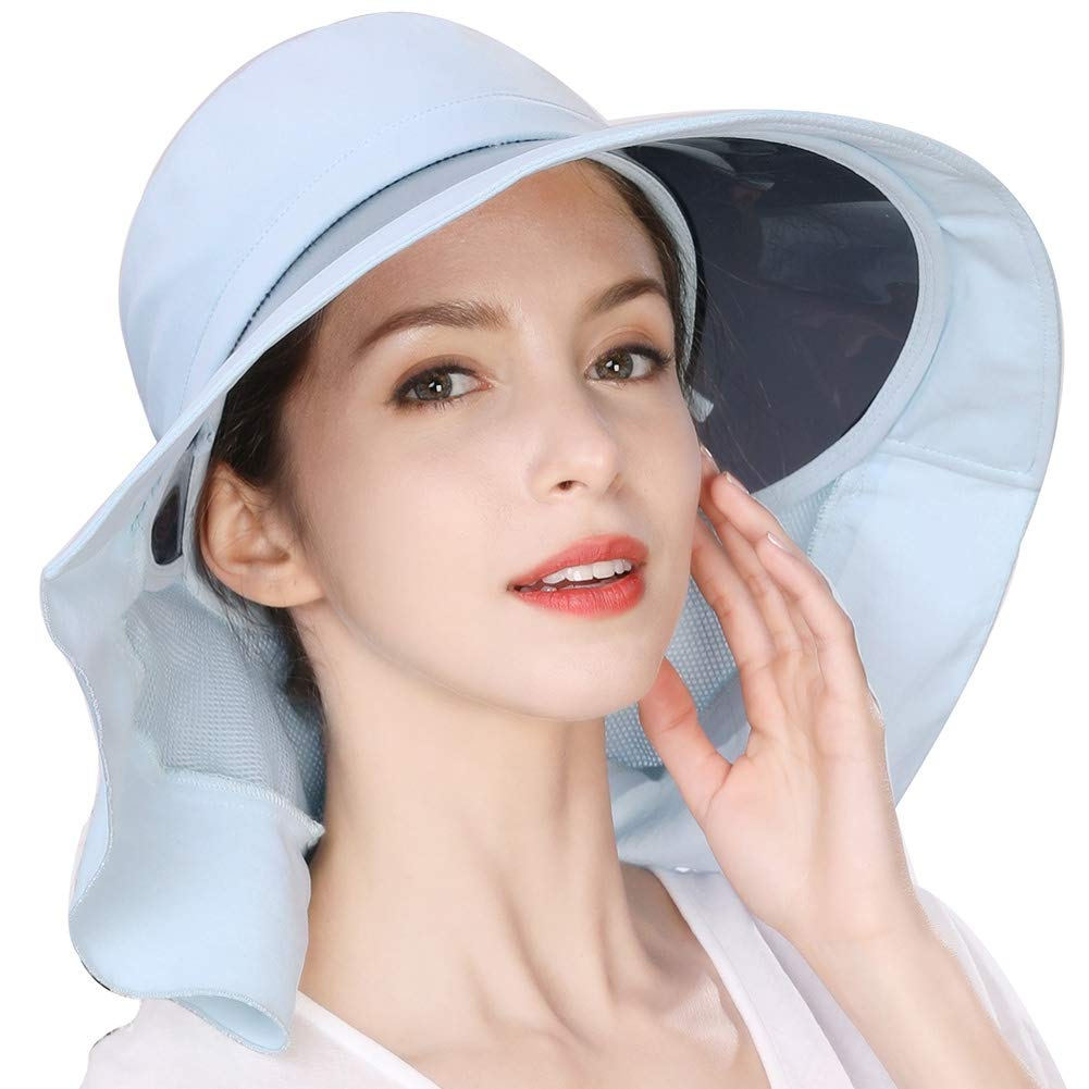 Summer Fishing Bucket Hat for Women Hunting UPF50+ Sun UV Protection Outdoor Wide Brim Travel Sunhat Ladies Blue