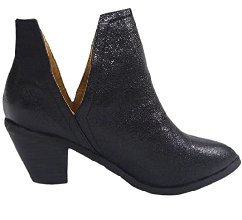 Amazon.com   N.Y.L.A. Womens Western Shimmer Stacked Chunky Heel Open Side Ankle Bootie   Ankle & Bootie