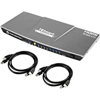TESmart 4x1 HDMI KVM Switch HDMI 4K 3840x2160@60Hz 4:4:4 with 2 Pcs 5ft/1.5m KVM Cables Supports USB 2.0 Devices Control up to 4 Computers/Servers/DVR (Gray)