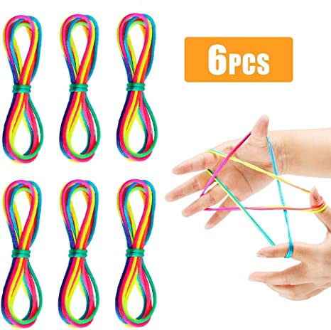 Imagen deQYY 6 Piezas Dedo Juego de la Cuerda, Cuerdas de Mecer de Gato Cuerda Arcoiris Cuerda de Juegos y Juguete de Habilidad de Dedos para Suministros de Fiestas