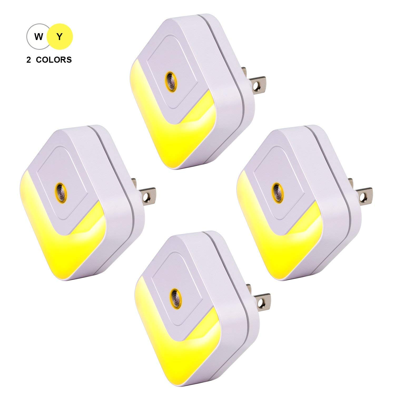 Plug-in Night Light,ViLSOM Led Night Light with Auto Dusk to Dawn Sensor and Dual Color Temperature Night Lights for Kids Room,Bedroom,Stairs,4-Pack.
