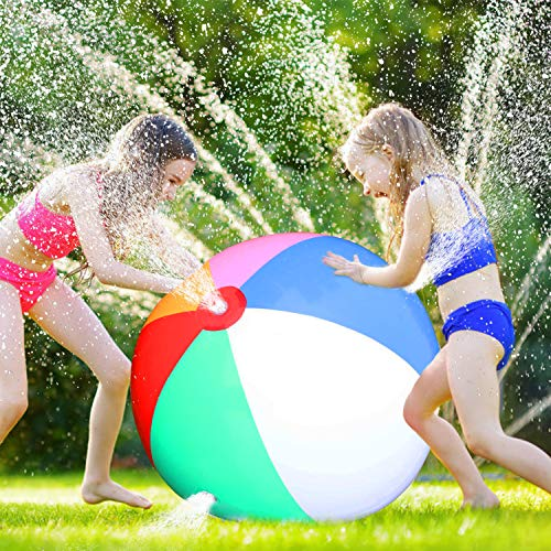 Dreamfun Sprinkler Ball Toy - Rainbow Inflatable Beach Toy for Kids Water Toys Outdoor Jumbo Splash and Spray Play Sprinkler Beach Ball Toy Outdoor Summer Party Favors for Kids Adults (26 Inches) - Multi Colored Beach Ball
