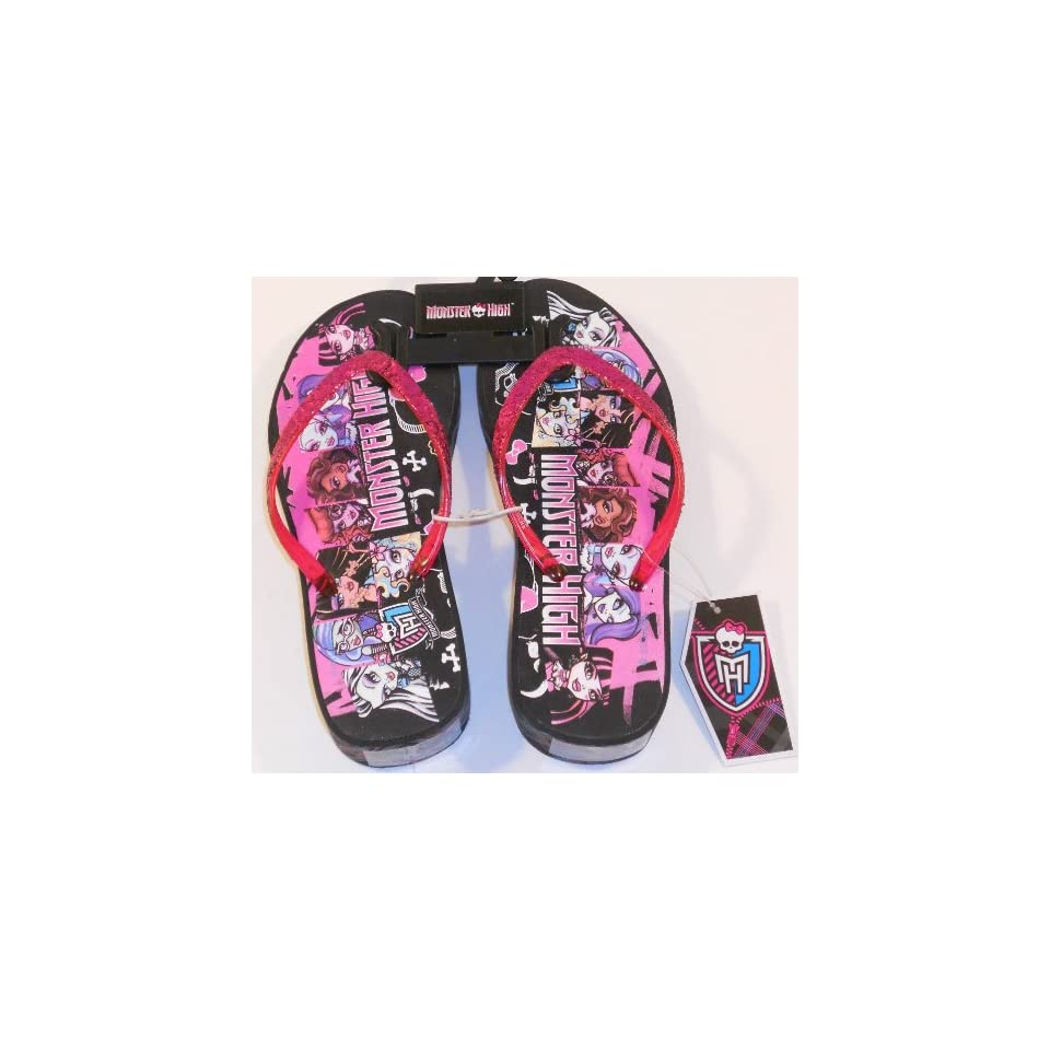 Monster High Girls Flip Flop Sandals Wedge Heel Pink Sparkles Size Youth XL 4/5 Monster High Dolls Shoes