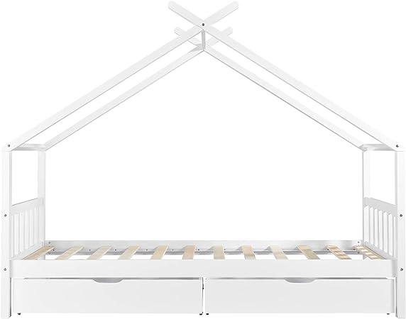 en.casa] Cama Infantil con 2 cajones, diseño casa de Pino Blanco ...