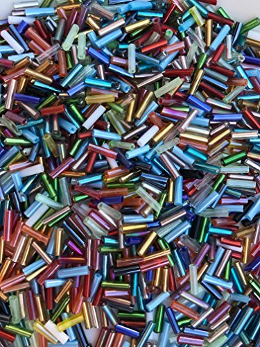 Tube Czech Glass Beads - Czech Bugle Beads 40 gr / 1.4 oz Assorted Color Mix Tube Size #3 7mm