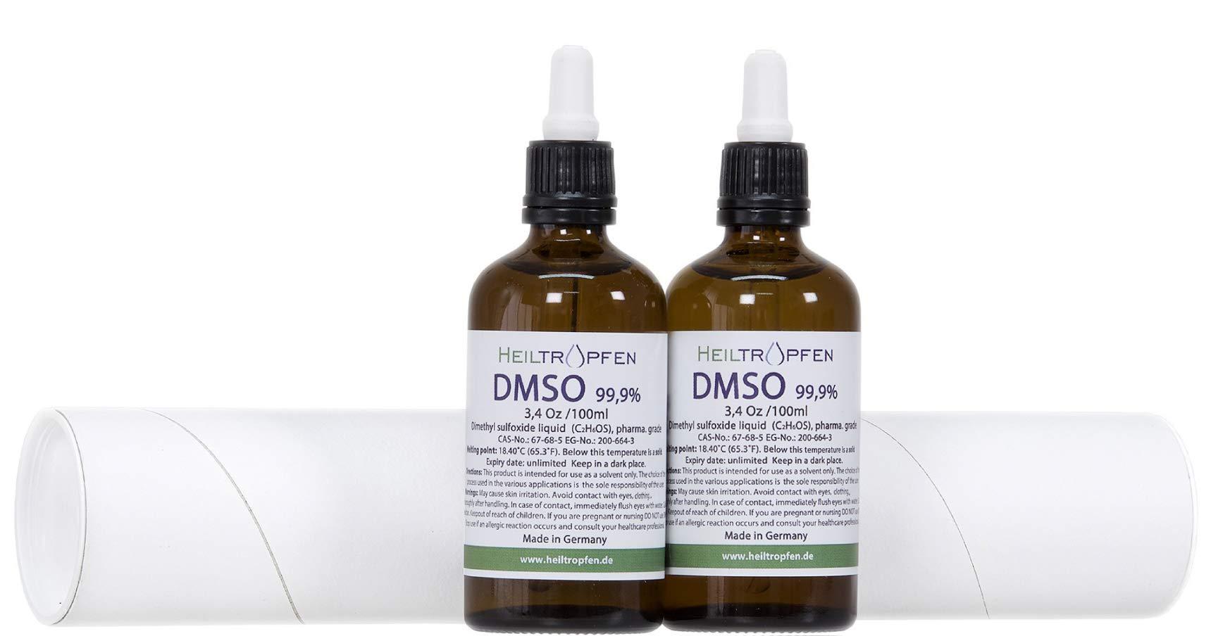 2x DMSO 99.9% Pharma grade - Dimethyl sulfoxide liquid (2x 3.4 Oz - 2x 100ml), High purity, Set of two, Heiltropfen