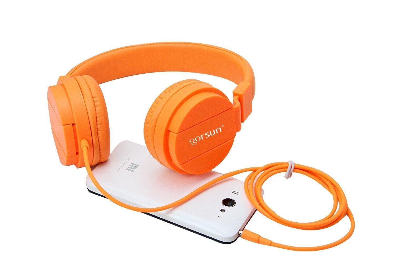 ONTA gorsun Foldable On Ear Audio Adjustable Lightweight Headphone for chlidren Cellphones Smartphones iPhone Laptop Computer Mp3/4 Earphones (Orange) by ONTA (Image #9)