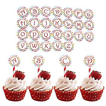 26 Pcs Round Letter Cupcake Toppers Food Pick DIY Birthday Cake