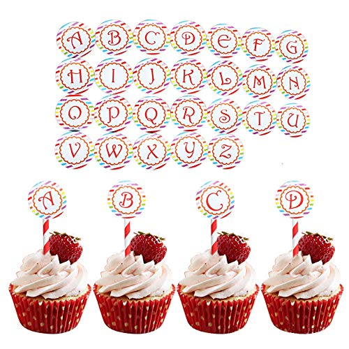 26 Pcs Round Letter Cupcake Toppers Food Pick DIY Birthday Cake Topper -