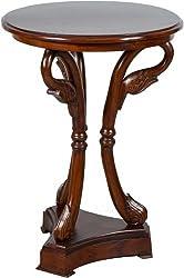 MAXIOCCASIONI Tavolino rotondo a collo di cigno in legno noce stile classico