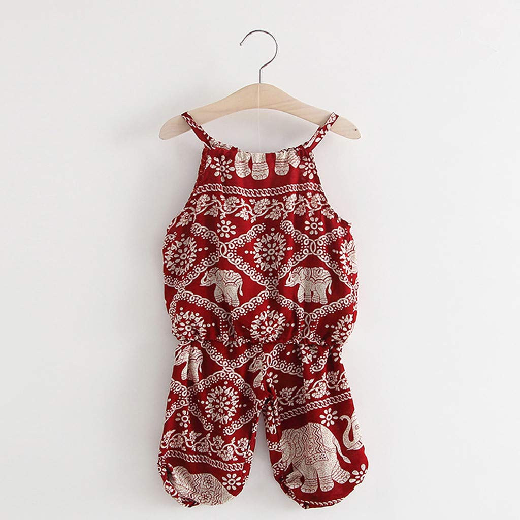 MALLOOM 2PCS Girls Cartoon Elephant Print Strap Tops+Pants Toddler Baby Clothing Set Outfits 0-6 Years