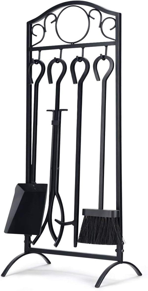 Casart juego de 5 herramientas para chimenea, quemador de carbón y madera, accesorios con pinza, pala, cepillo, atizador y base, herramienta de hierro para interiores y exteriores