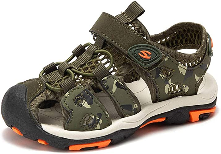 Fashion Kids Boys Closed-Toe Sandals Soft Leather Outdoor Beach Sport Shoes US
