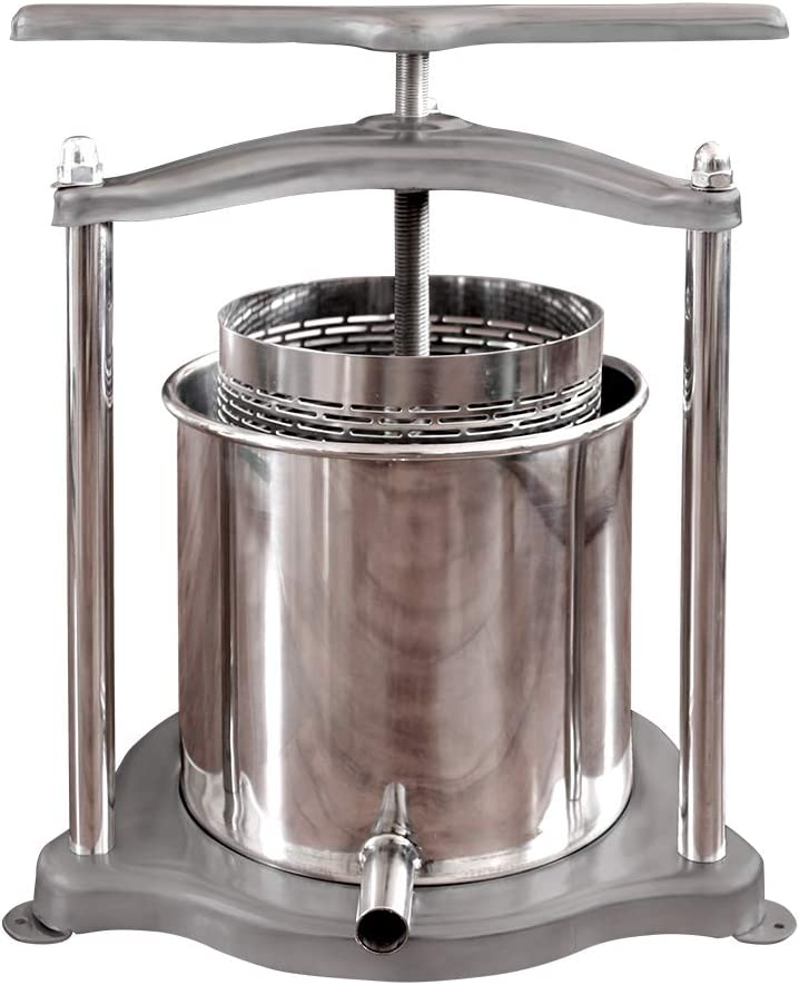 3L//0.8Gal Stainless Steel Fruits Crusher with Filter Bag for Handmade Apple Cider Vegetable Juice Fruit Wine Press Wine Making and Household Use