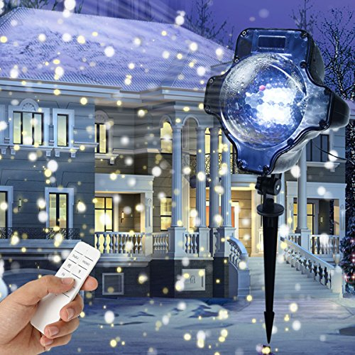 Snowfall Led Lights, Yoyokit Rotating Waterproof Snowflake Outdoor Projector Lights with Wireless Remote for Patio,Garden,Halloween,Christmas,Holiday,Wedding,Party - Christmas Strobe Lights
