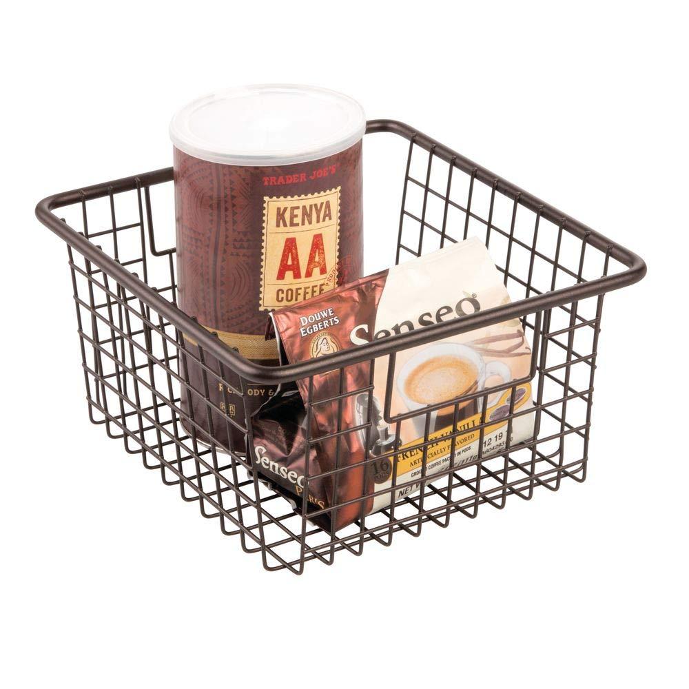 "mDesign Farmhouse Decor Metal Wire Food Storage Organizer Bin Basket with Handles for Kitchen Cabinets, Pantry, Bathroom, Laundry Room, Closets, Garage - 10.25"" x 9.25"" x 5.25"" - Bronze"