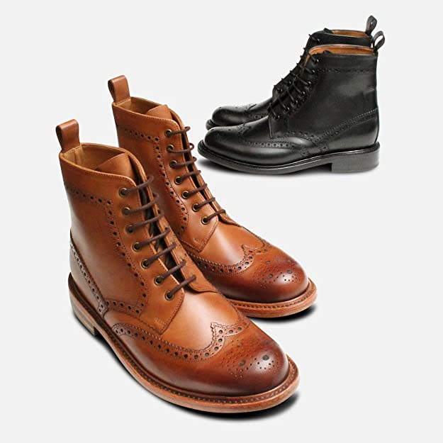 130f5194dca Black Goodyear Welted Brogue Chapman Country Boots: Amazon.co.uk ...
