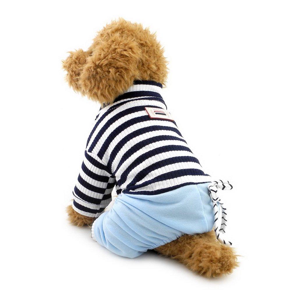 Zunea Stripe Jumpsuit pour Chiens de Petite Taille Coton Doux et Respirant Tenues Vêtements Animal Domestique Chiot Apparel Pyjama pour Chien mâle