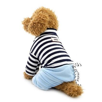 Mono de rayas ZUNEA para perros pequeños Pijamas de mascotas con pantalones de mezclilla Sudaderas de