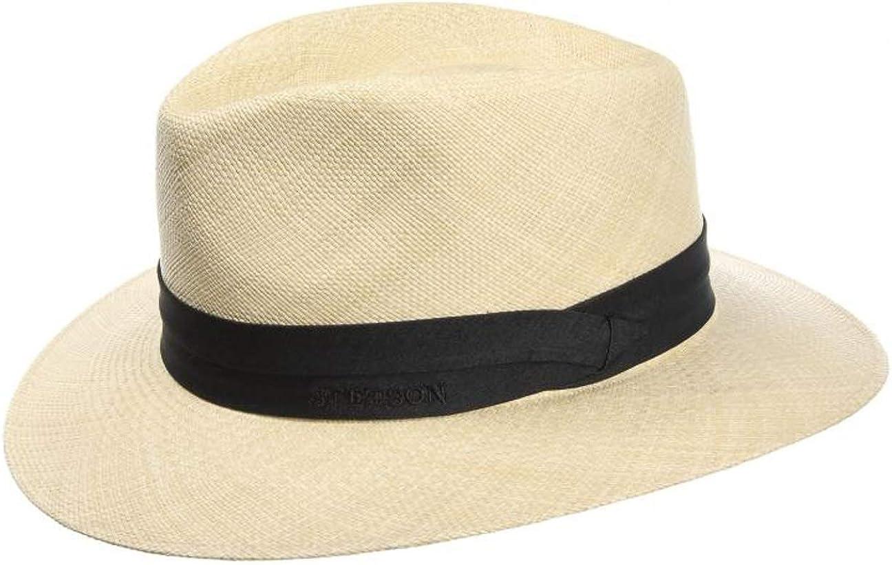 Stetson Sombrero Panamá Jefferson Hombre - Made in Ecuador de Paja Traveller con Banda Grosgrain Primavera/Verano