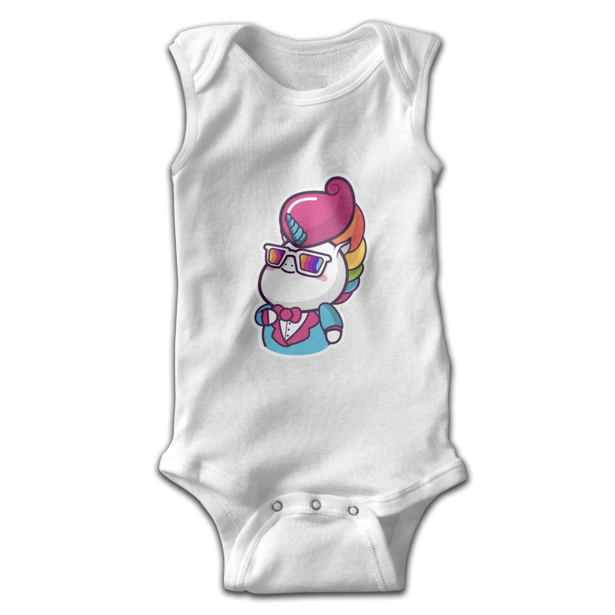 Dfenere Magical Unicorn2 Newborn Baby No Sleeve Bodysuit Romper Infant Summer Clothing Black