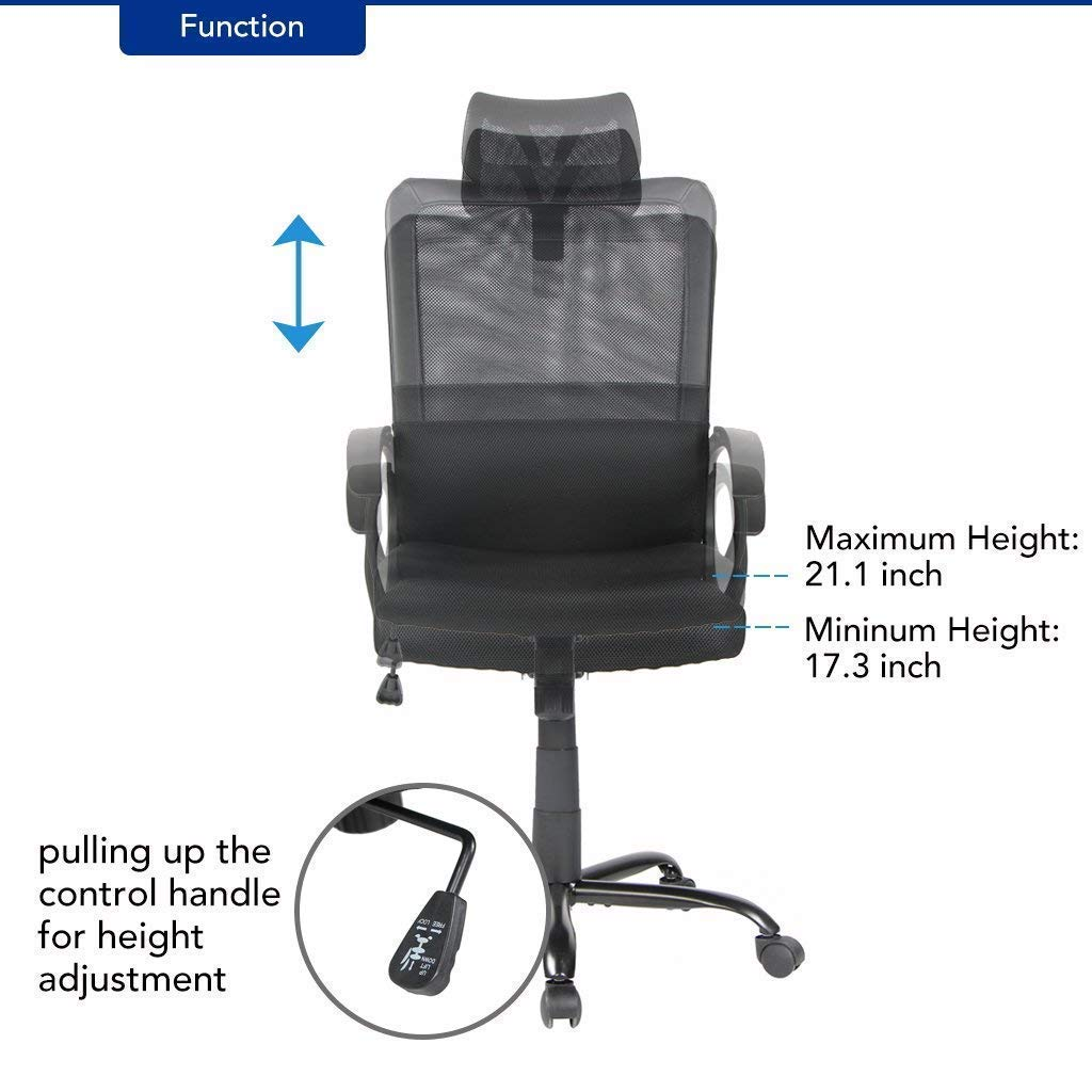 office owl Ergonomic Office Chair Adjustable Headrest Mesh Office Chair Office Desk Chair Computer Task Chair (Black) by Office Owl (Image #6)