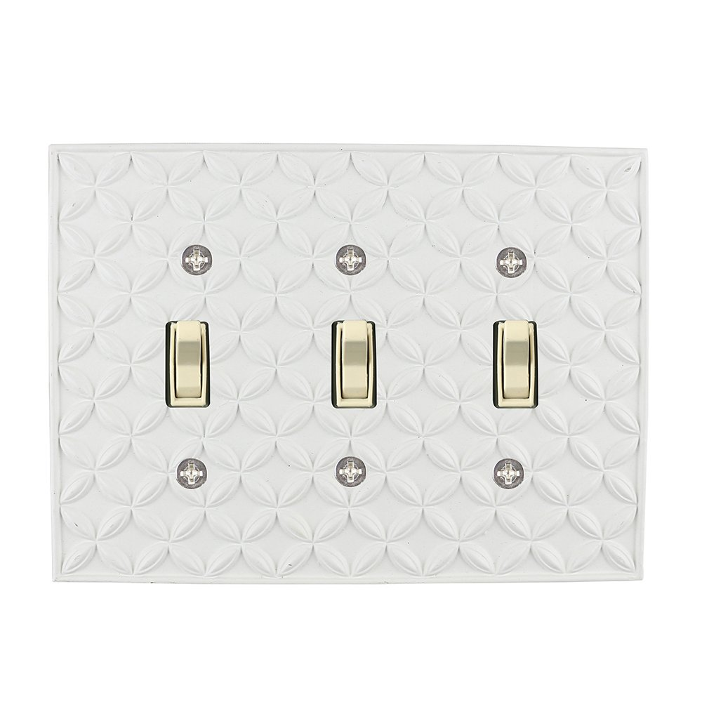 Meriville Colfax 3 Toggle Wallplate, Triple Switch Electrical Cover Plate, Off White