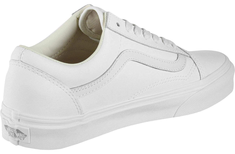 fd930eaea64624 Vans Unisex Shoes Old Skool (Vansbuck) Blanc De Blanc Leather Sneakers   Amazon.co.uk  Shoes   Bags