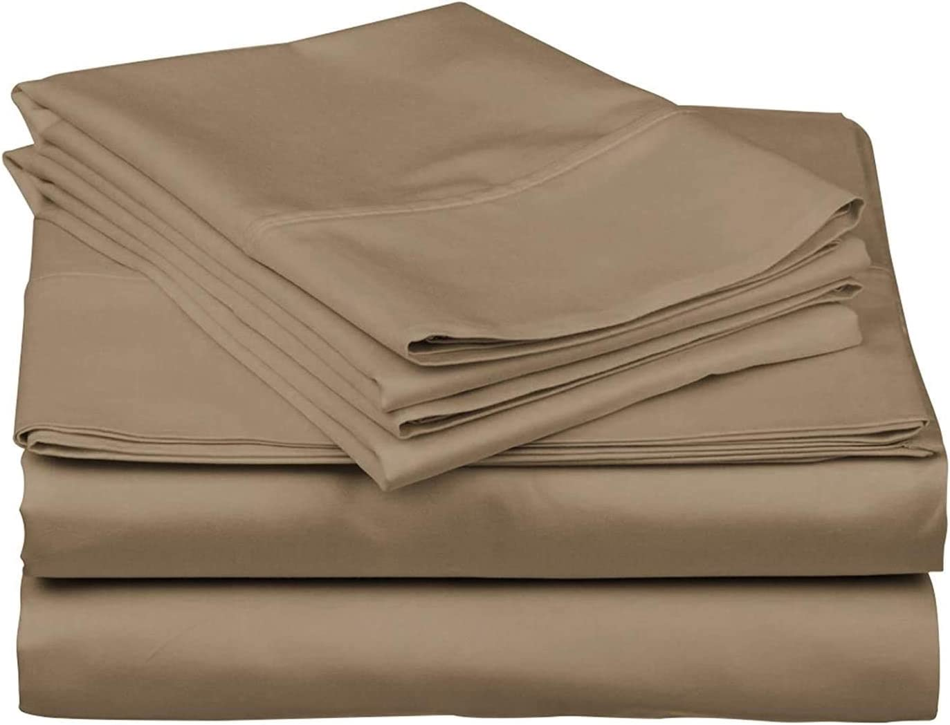 Rajlinen 400 Thread Count Luxurious 100% Egyptian Cotton Set of 4 Sheet Set  for Camper/RV Solid Taupe
