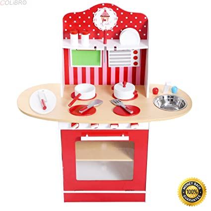 Amazon Com Colibrox Kids Wood Kitchen Toy Cooking Pretend Play Set