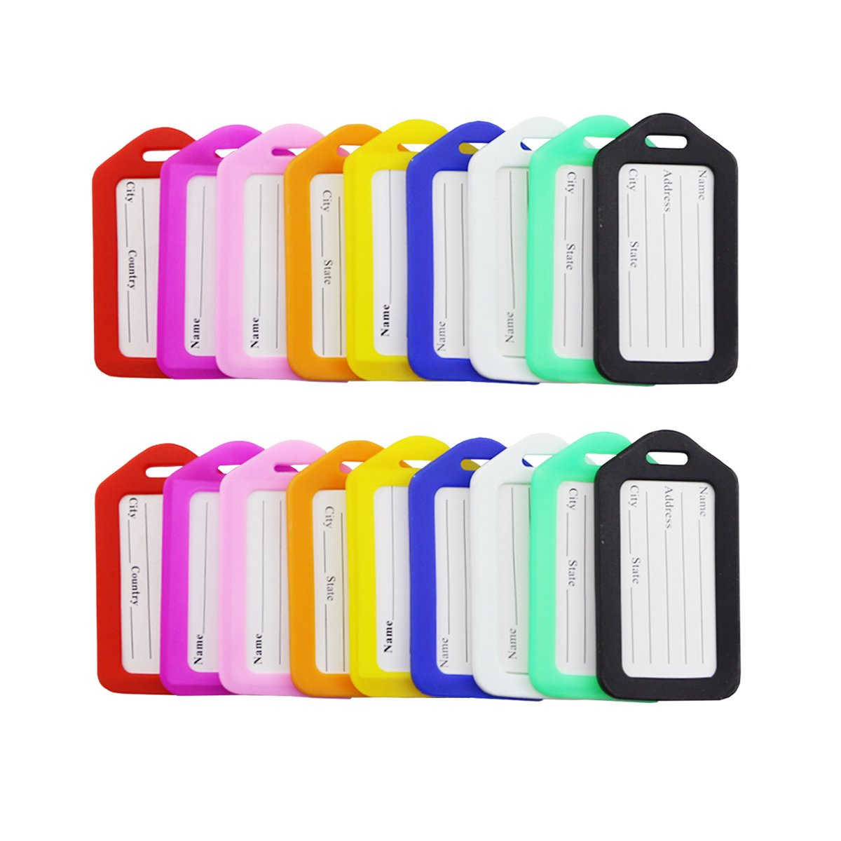 Fireboomoon 18 Pieces Luggage Tags Travel Suitcase Luggage Bag Tags (9 Colors)
