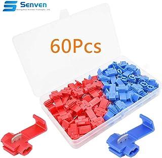 Senven®60Pcs Terminale Connettore Connettore Rapido Filo Serratura Scozzese, Connettore Connettore Filo Scozzese, Connettore Connettore Diramazione Rapido - 30pcs Rosso,30pcs Blu.