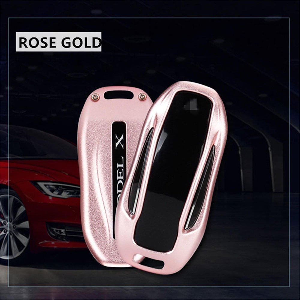 Topfit Premium aluminio Metal clave Fob Caso para Tesla modelo X anillo de metal llavero Clave Para Tesla modelo X Serie Extreme black