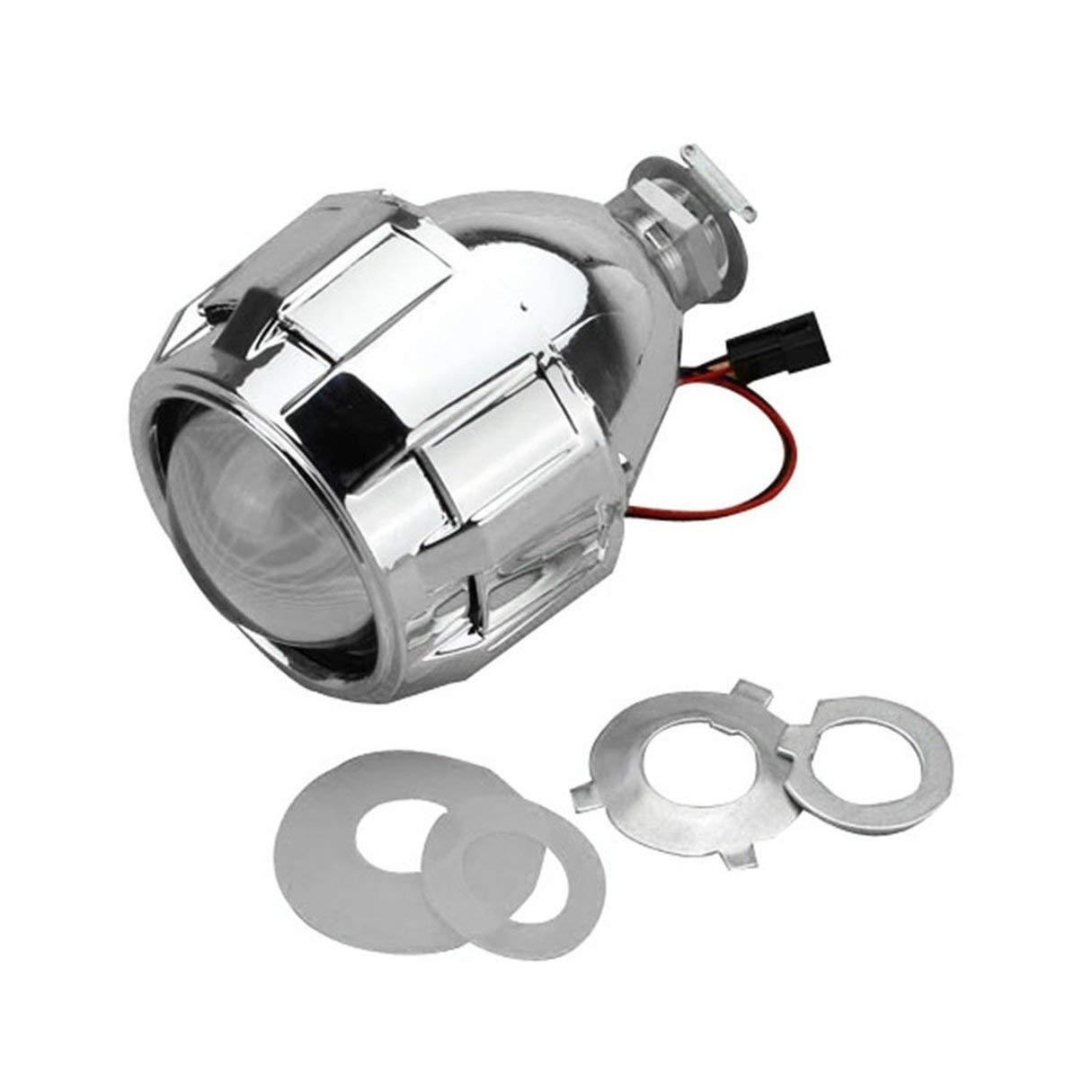 Mini-Bi-Xenon-Projektor-Objektiv, 2,5-Zoll-Xenon Mini Bi-Xenon HID Klar Projektorobjektiv Cover Shroud Scheinwerfer Custom Scheinwerfer H1 H4 H7 Silber Wafalano