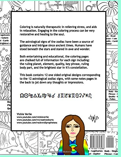 Adult Coloring Book 12 Zodiac Astrology Signs Relaxing Art Therapy
