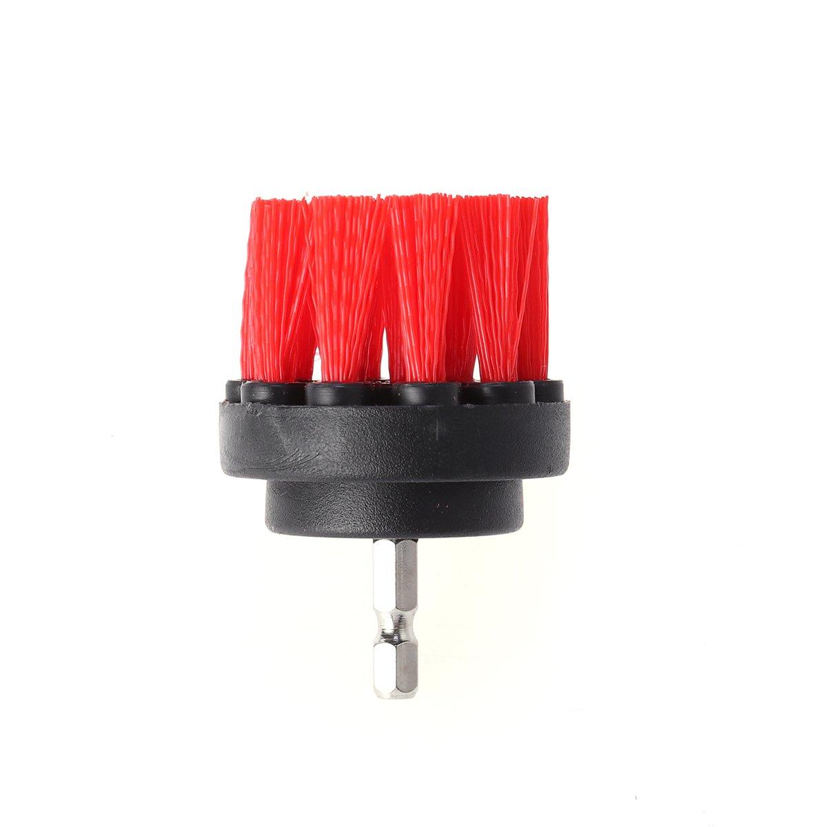 OUNONA 3pcs Brosses de Nettoyage Nylon Forage Brosse de Nettoyage Attachements Multifonction Power Scrubber Brosse de Fixation Kit pour Le coulis de Voiture Pavage Marbre Nettoyage Rouge