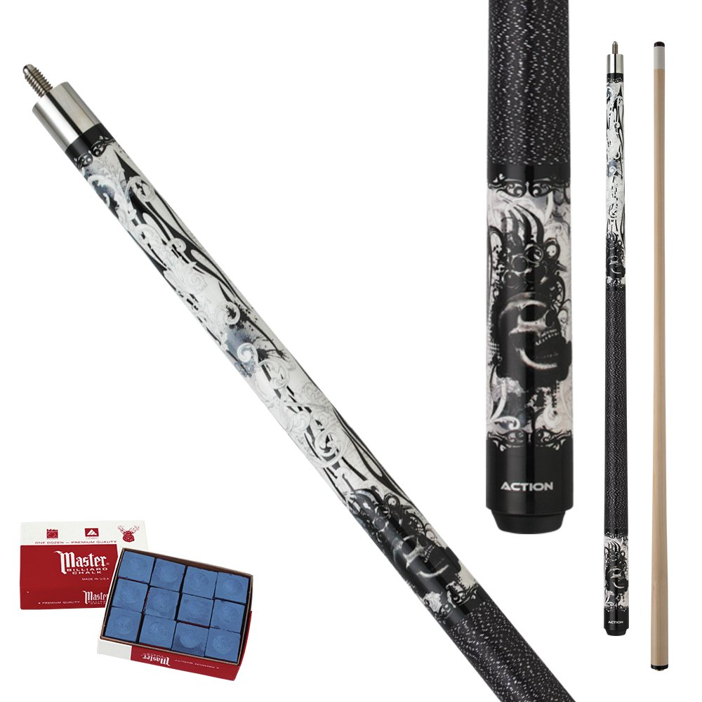 Action Eight Ball Mafia EMB10 white, black and gray grunge graphic brass knuckles and skulls design Maple Pool Cue Stick with 12 pieces of Master Billiard Chalk (21) by Action