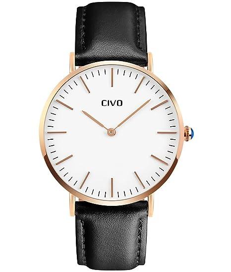 CIVO Relojes para Hombres Correa de Cuero Analógico Cuarzo Reloj de Pulsera  Moda Lujo Sencillo Clásico 51ee8cf1d5ab