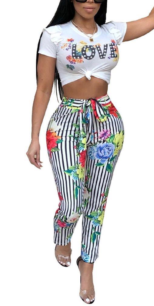 Women Stripe Floral Love Letter Print Short Sleeve Jumpsuit Tracksuit Casual Clubwear